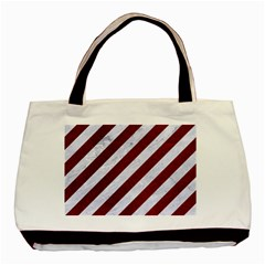 Stripes3 White Marble & Red Grunge (r) Basic Tote Bag by trendistuff