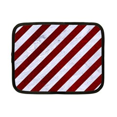 Stripes3 White Marble & Red Grunge (r) Netbook Case (small)  by trendistuff