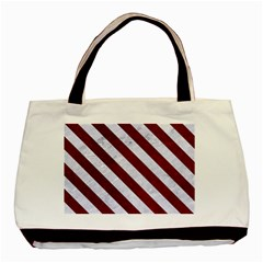 Stripes3 White Marble & Red Grunge Basic Tote Bag (two Sides)