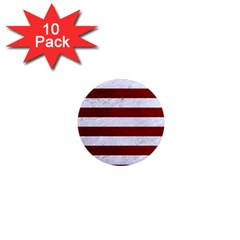 Stripes2white Marble & Red Grunge 1  Mini Magnet (10 Pack)  by trendistuff