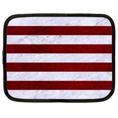 Stripes2white Marble & Red Grunge Netbook Case (xxl)