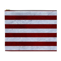Stripes2white Marble & Red Grunge Cosmetic Bag (xl) by trendistuff