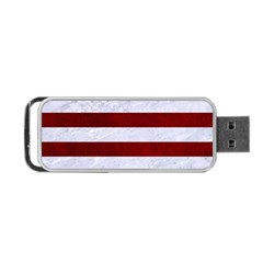 Stripes2white Marble & Red Grunge Portable Usb Flash (one Side) by trendistuff