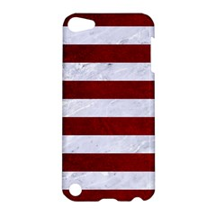Stripes2white Marble & Red Grunge Apple Ipod Touch 5 Hardshell Case by trendistuff