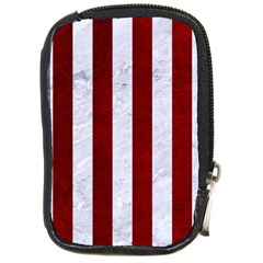 Stripes1 White Marble & Red Grunge Compact Camera Cases by trendistuff