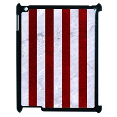 Stripes1 White Marble & Red Grunge Apple Ipad 2 Case (black) by trendistuff