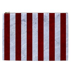 Stripes1 White Marble & Red Grunge Cosmetic Bag (xxl)  by trendistuff