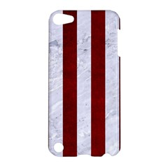 Stripes1 White Marble & Red Grunge Apple Ipod Touch 5 Hardshell Case by trendistuff