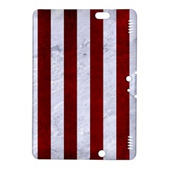 Stripes1 White Marble & Red Grunge Kindle Fire Hdx 8 9  Hardshell Case by trendistuff