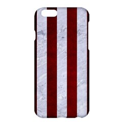 Stripes1 White Marble & Red Grunge Apple Iphone 6 Plus/6s Plus Hardshell Case