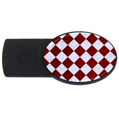 Square2 White Marble & Red Grunge Usb Flash Drive Oval (4 Gb)