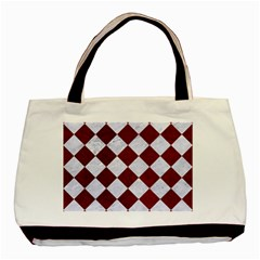 Square2 White Marble & Red Grunge Basic Tote Bag by trendistuff