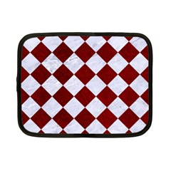 Square2 White Marble & Red Grunge Netbook Case (small)  by trendistuff