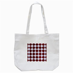 Square2 White Marble & Red Grunge Tote Bag (white) by trendistuff