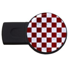 Square1 White Marble & Red Grunge Usb Flash Drive Round (2 Gb) by trendistuff