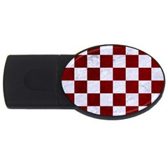 Square1 White Marble & Red Grunge Usb Flash Drive Oval (4 Gb) by trendistuff
