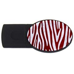 Skin4 White Marble & Red Grunge (r) Usb Flash Drive Oval (4 Gb) by trendistuff