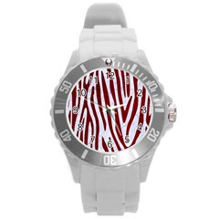 Skin4 White Marble & Red Grunge Round Plastic Sport Watch (l) by trendistuff