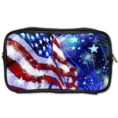American Flag Red White Blue Fireworks Stars Independence Day Toiletries Bags 2 Side