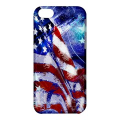 American Flag Red White Blue Fireworks Stars Independence Day Apple Iphone 5c Hardshell Case by Sapixe