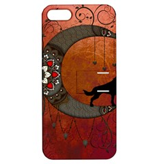 Black Wolf On Decorative Steampunk Moon Apple Iphone 5 Hardshell Case With Stand by FantasyWorld7