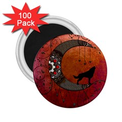 Black Wolf On Decorative Steampunk Moon 2 25  Magnets (100 Pack)  by FantasyWorld7