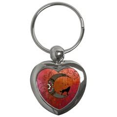 Black Wolf On Decorative Steampunk Moon Key Chains (heart)  by FantasyWorld7