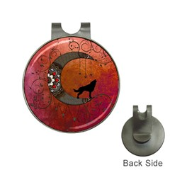 Black Wolf On Decorative Steampunk Moon Hat Clips With Golf Markers by FantasyWorld7