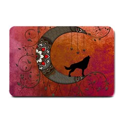Black Wolf On Decorative Steampunk Moon Small Doormat  by FantasyWorld7