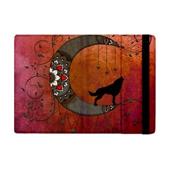 Black Wolf On Decorative Steampunk Moon Apple Ipad Mini Flip Case by FantasyWorld7