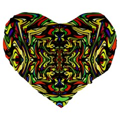 Artwork By Patrick Colorful 19 Large 19  Premium Flano Heart Shape Cushions