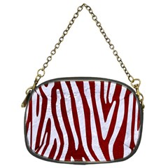 Skin3 White Marble & Red Grunge (r) Chain Purses (one Side)  by trendistuff