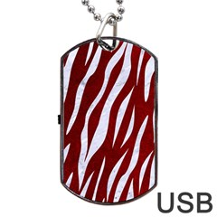 Skin3 White Marble & Red Grunge Dog Tag Usb Flash (two Sides) by trendistuff