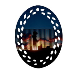 Art Sunset Anime Afternoon Oval Filigree Ornament (two Sides) by Sapixe