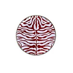 Skin2 White Marble & Red Grunge (r) Hat Clip Ball Marker by trendistuff