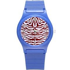 Skin2 White Marble & Red Grunge (r) Round Plastic Sport Watch (s) by trendistuff