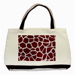 Skin1 White Marble & Red Grunge (r) Basic Tote Bag