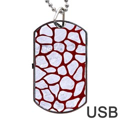 Skin1 White Marble & Red Grunge Dog Tag Usb Flash (two Sides) by trendistuff