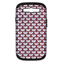 Scales3 White Marble & Red Grunge (r) Samsung Galaxy S Iii Hardshell Case (pc+silicone) by trendistuff