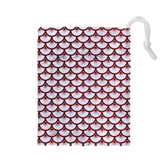 Scales3 White Marble & Red Grunge (r) Drawstring Pouches (large)  by trendistuff