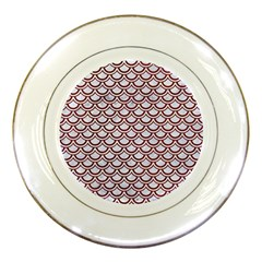 Scales2 White Marble & Red Grunge (r) Porcelain Plates by trendistuff