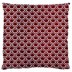 Scales2 White Marble & Red Grunge Large Flano Cushion Case (two Sides) by trendistuff