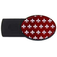 Royal1 White Marble & Red Grunge (r) Usb Flash Drive Oval (4 Gb) by trendistuff