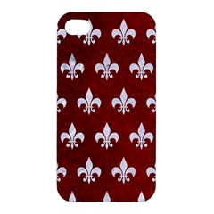 Royal1 White Marble & Red Grunge (r) Apple Iphone 4/4s Hardshell Case by trendistuff