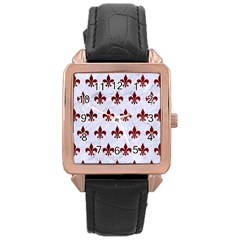 Royal1 White Marble & Red Grunge Rose Gold Leather Watch  by trendistuff