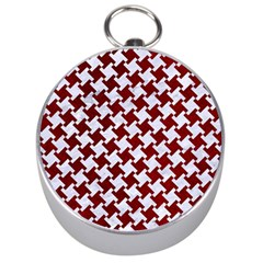 Houndstooth2 White Marble & Red Grunge Silver Compasses by trendistuff