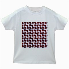 Houndstooth1 White Marble & Red Grunge Kids White T Shirts by trendistuff