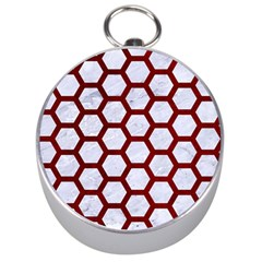 Hexagon2 White Marble & Red Grunge (r) Silver Compasses by trendistuff