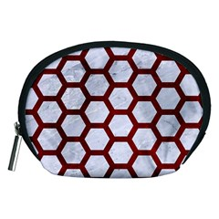 Hexagon2 White Marble & Red Grunge (r) Accessory Pouches (medium)  by trendistuff