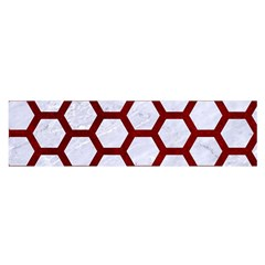 Hexagon2 White Marble & Red Grunge (r) Satin Scarf (oblong) by trendistuff